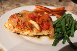 Tilapia with roasted carrots and garlic green beans