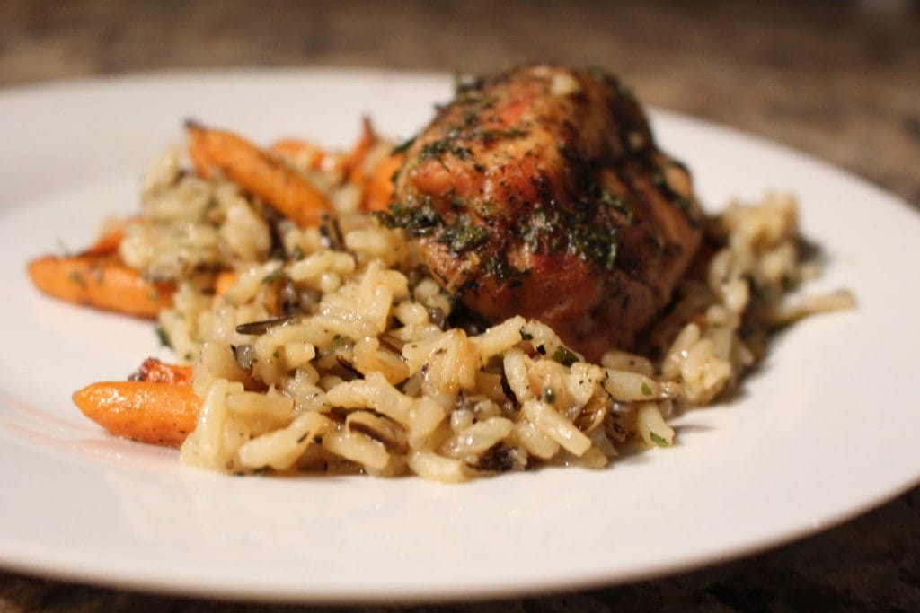 Wild Rice & Chicken Bake- One pot dinner that that takes minutes to put together and bakes in the oven, hands off! 7 ingredients is all you need to make this. You won't believe how good this recipe is! -thesaltedpepper.com