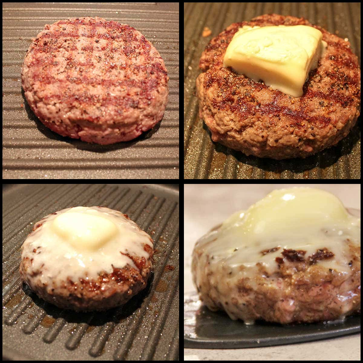 grilling burger and melting cheese