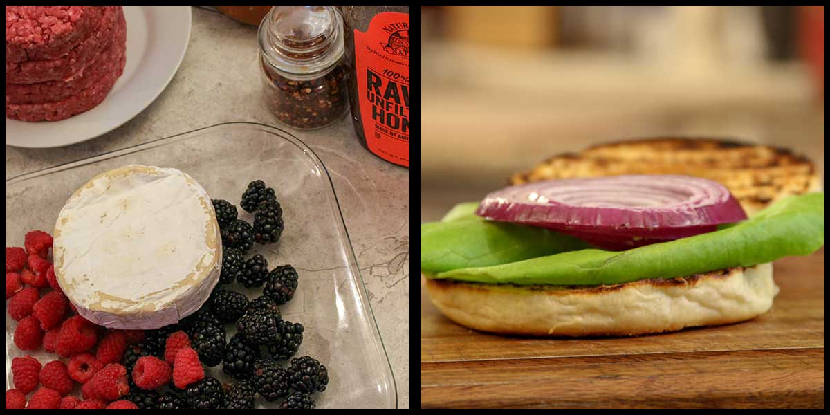 ingredients for brie and berry burgers