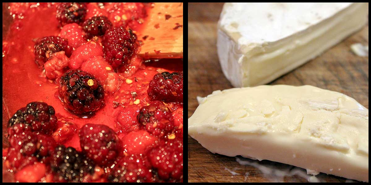 making berry sauce and cutting rind off of brie