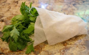 Parsley wrapped in paper towel