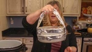 Ninja Foodi Recipe Apple Cake making foil strap