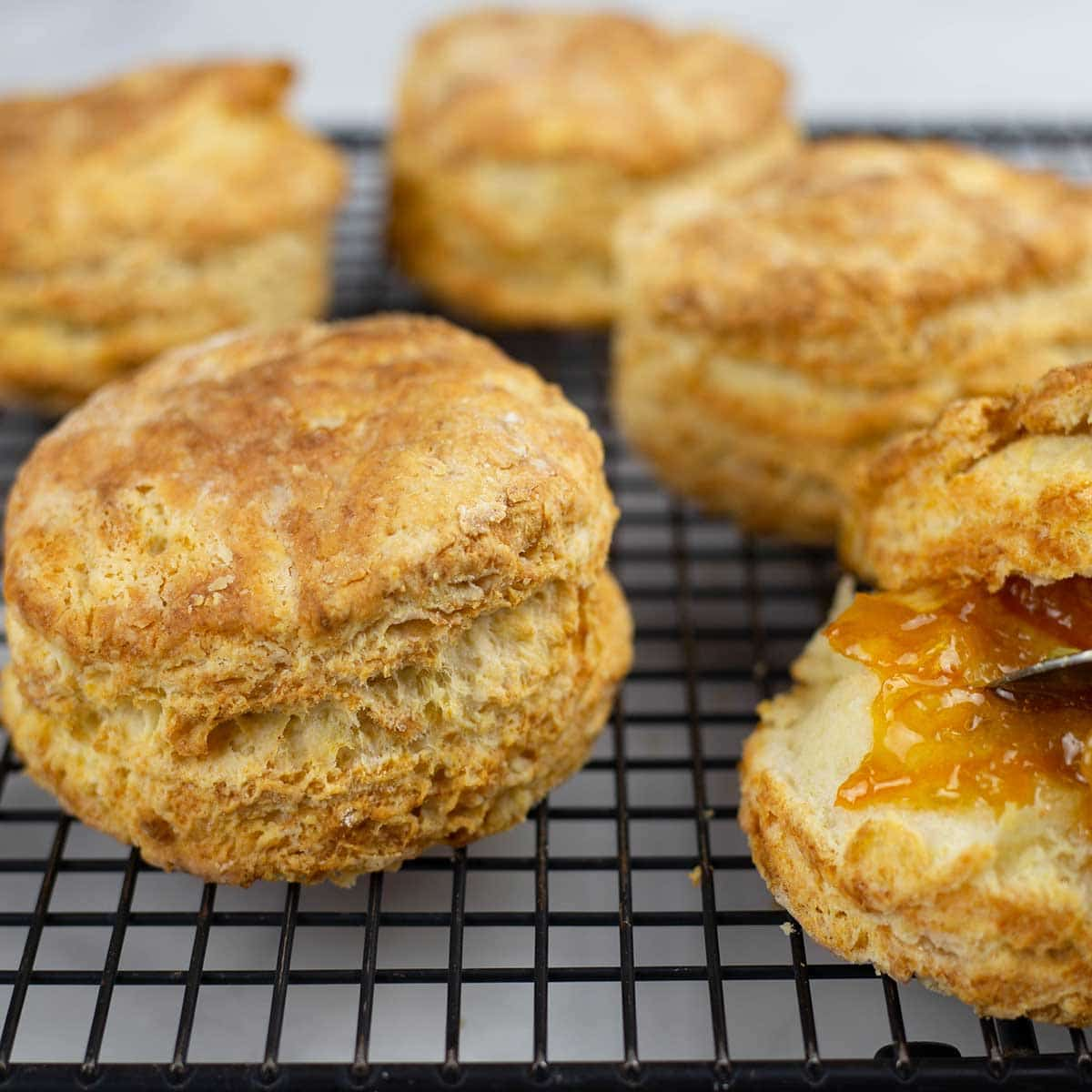 Homemade biscuits on a cooling rack with