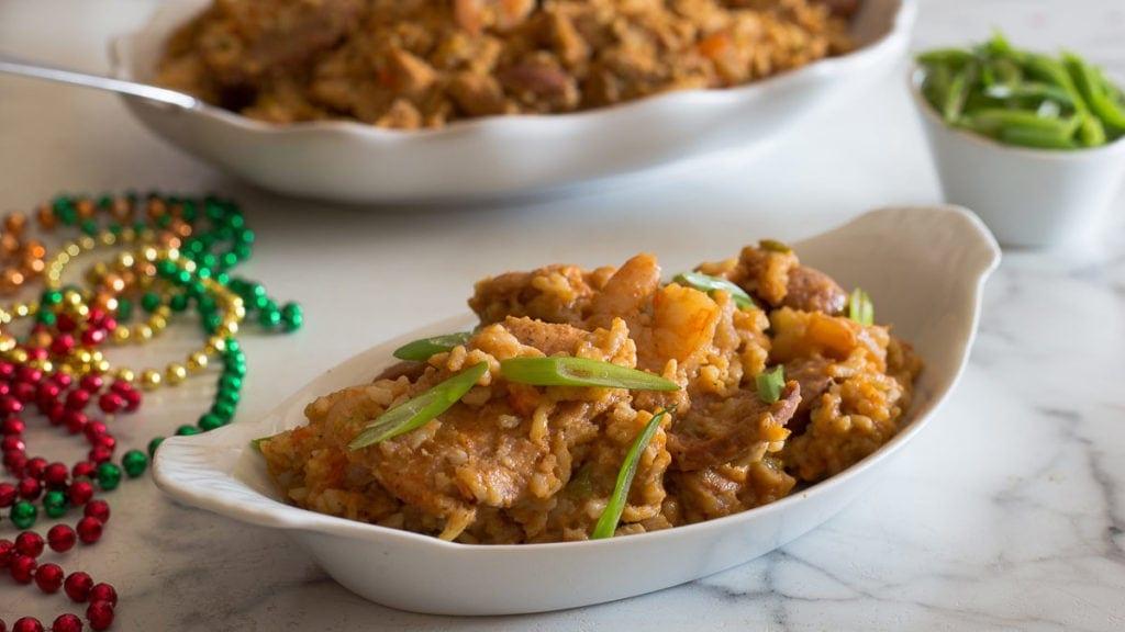Cajun Jambalaya in a white dish
