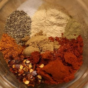 Cajun Jambalaya spices in a small glass bowl