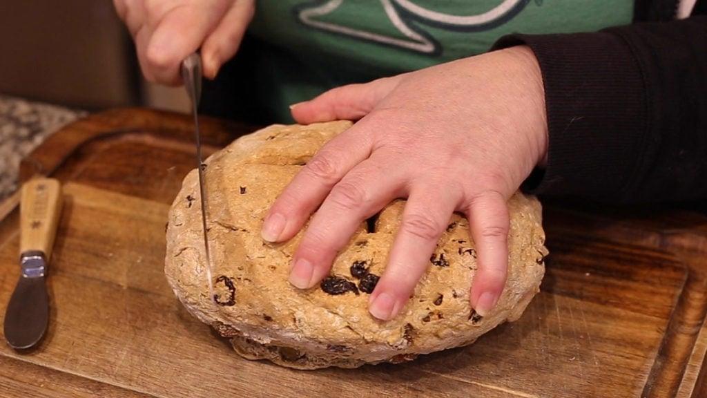 Irish Soda Bread in the Ninja Foodi cutting bread