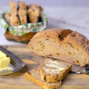 Irish Soda Bread Sliced on a cutting board