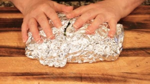 wrapping vegetables in foil