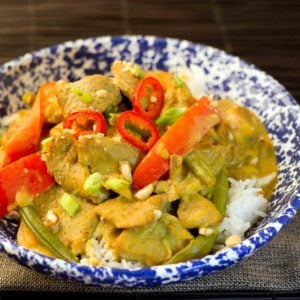 Thai Curry Chicken in a blue and white bowl