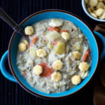 New England Clam Chowder in a blue bowl