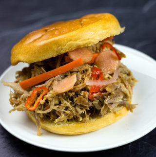 Asian Pulled Pork on a bun with pickled vegetables