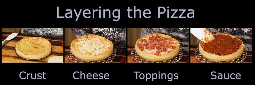 layering a deep dish pizza