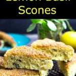 Lemon Basil Scones piled on a cooling rack