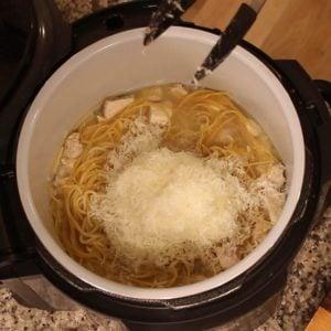 cheese added to ninja foodi pot for chicken carbonara