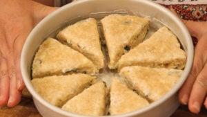 Lemon Basil Scones in a cake pan