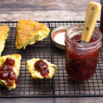 Strawberry preserves on a scone