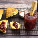 Strawberry preserves on a scone