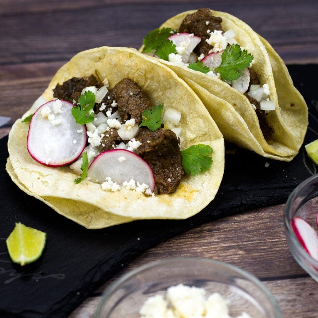 Carne asada tacos on a plate