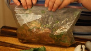 steak and marinade in bag for carne asada tacos