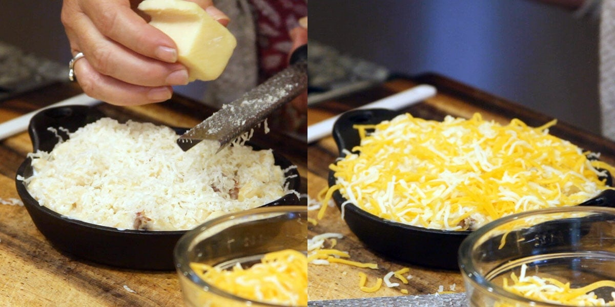 Adding cheese to bacon mac and cheese