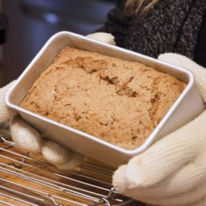 showing smaller loaf pan with bread