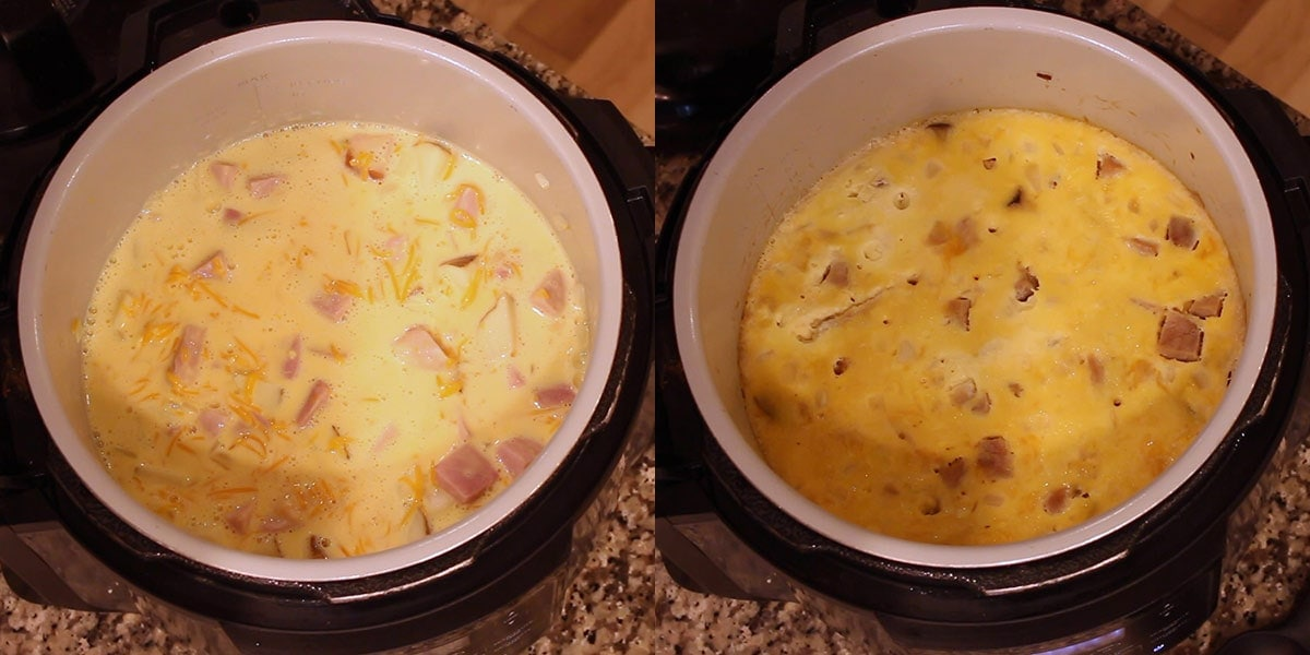 Graphic showing before and after pictures of overnight breakfast casserole