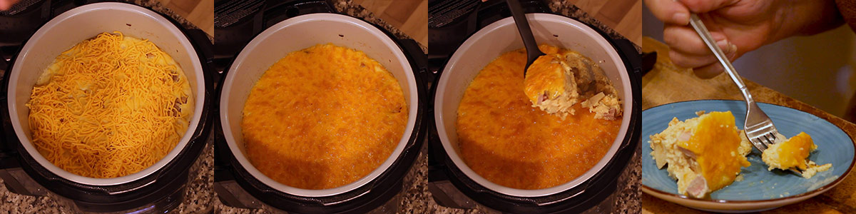 browning cheese and serving overnight breakfast casserole