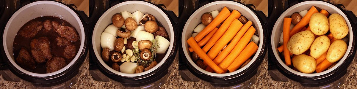 layers of ingredients for quick and easy pot roast