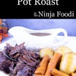 Pot Roast with carrots and potatoes on a platter
