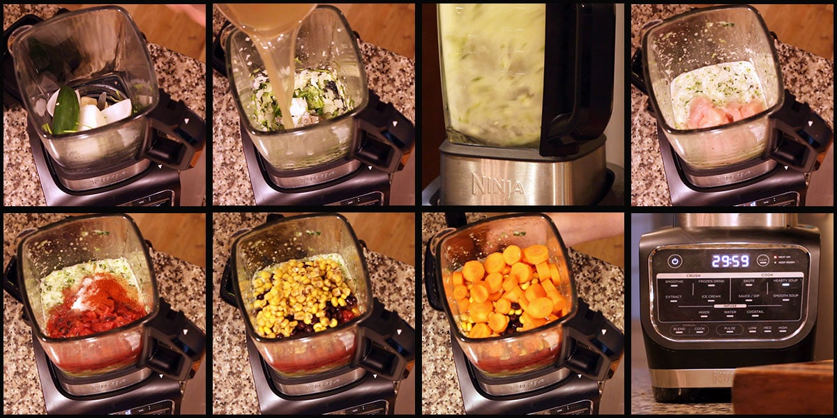 picture collage of steps for making soup