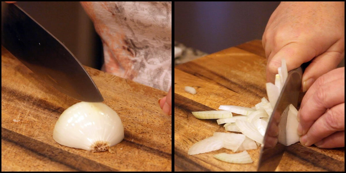 cutting onions for French Onion Dip