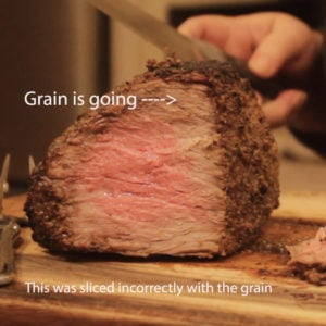 showing roast beef sliced incorrectly with the grain