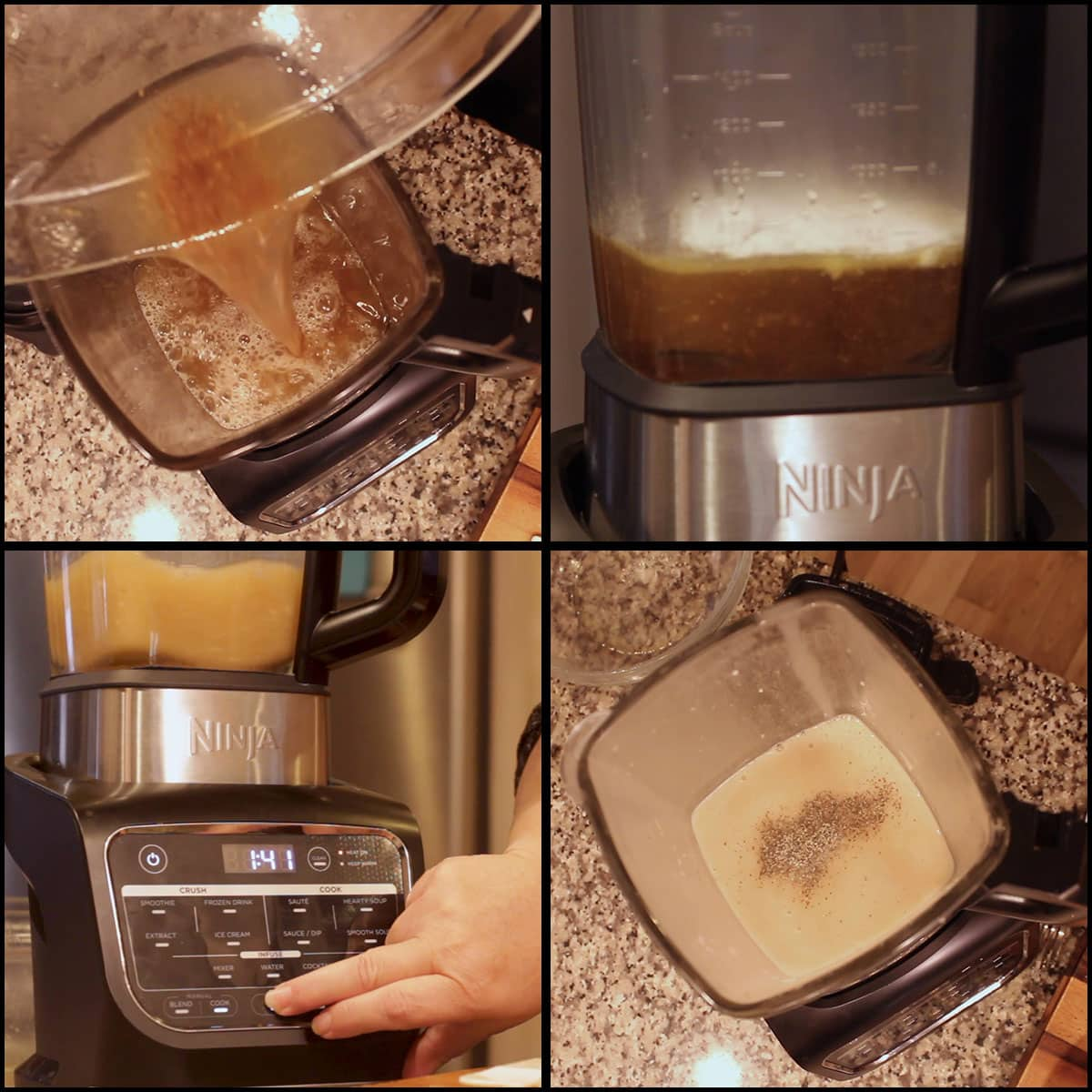 showing the steps for making blender gravy