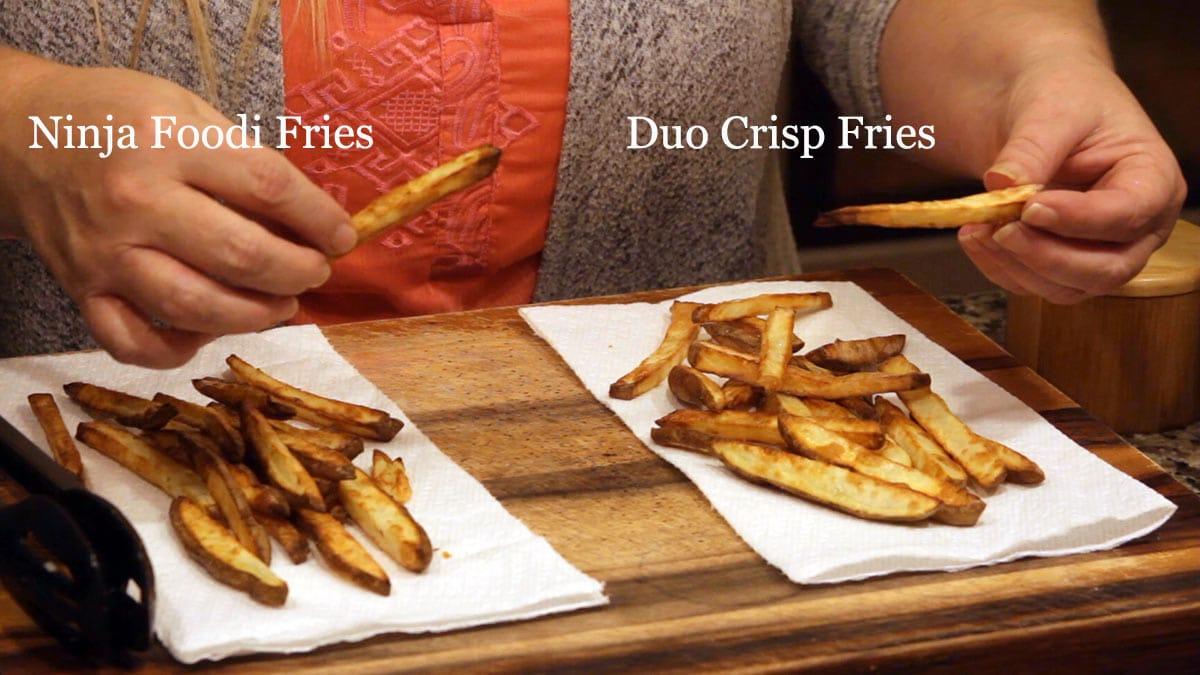 Duo Crisp fries beside ninja foodi fries for comparison