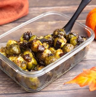 candied Brussels Sprouts in a serving dish