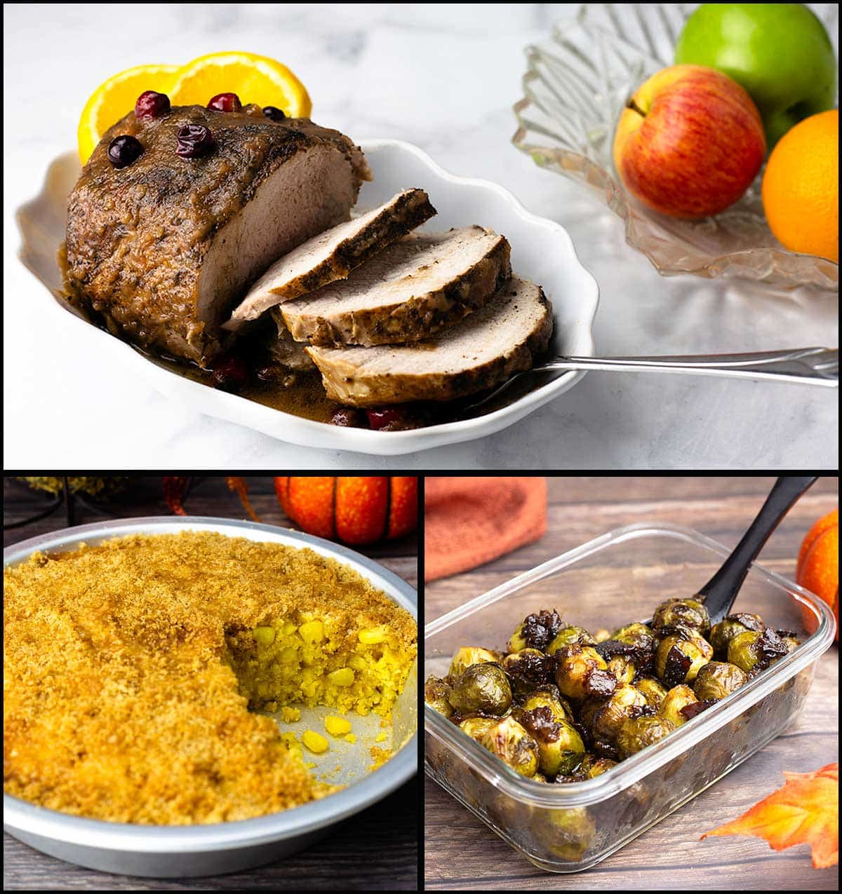 Collage of pictures showing pork loin with apple gravy, corn pudding, and candied brussels sprouts