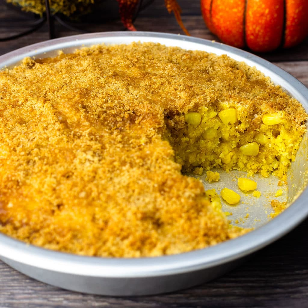 Corn pudding in a pie pan