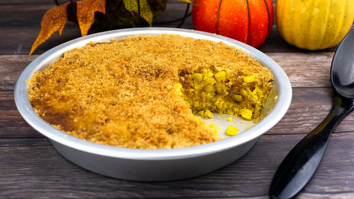 corn pudding in a pie dish