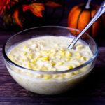 glass bowl of cream corn
