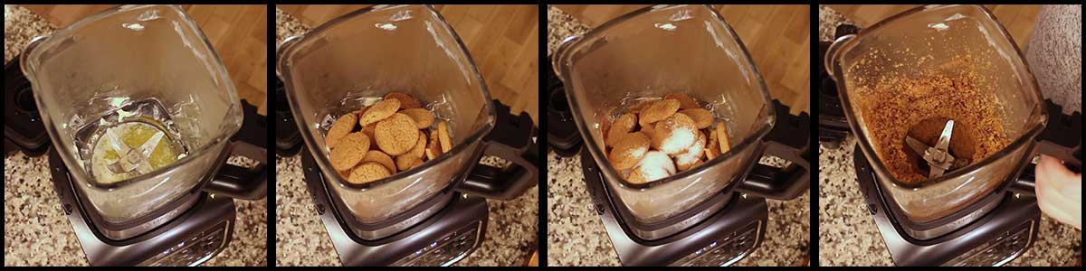 steps for making gingersnap crust in the hot cold blender