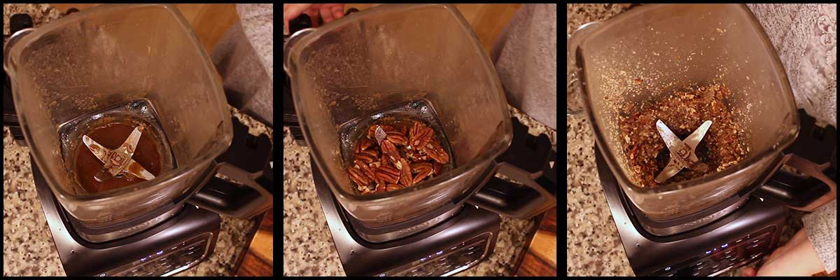 making the pecan praline for the maple leaf decorations