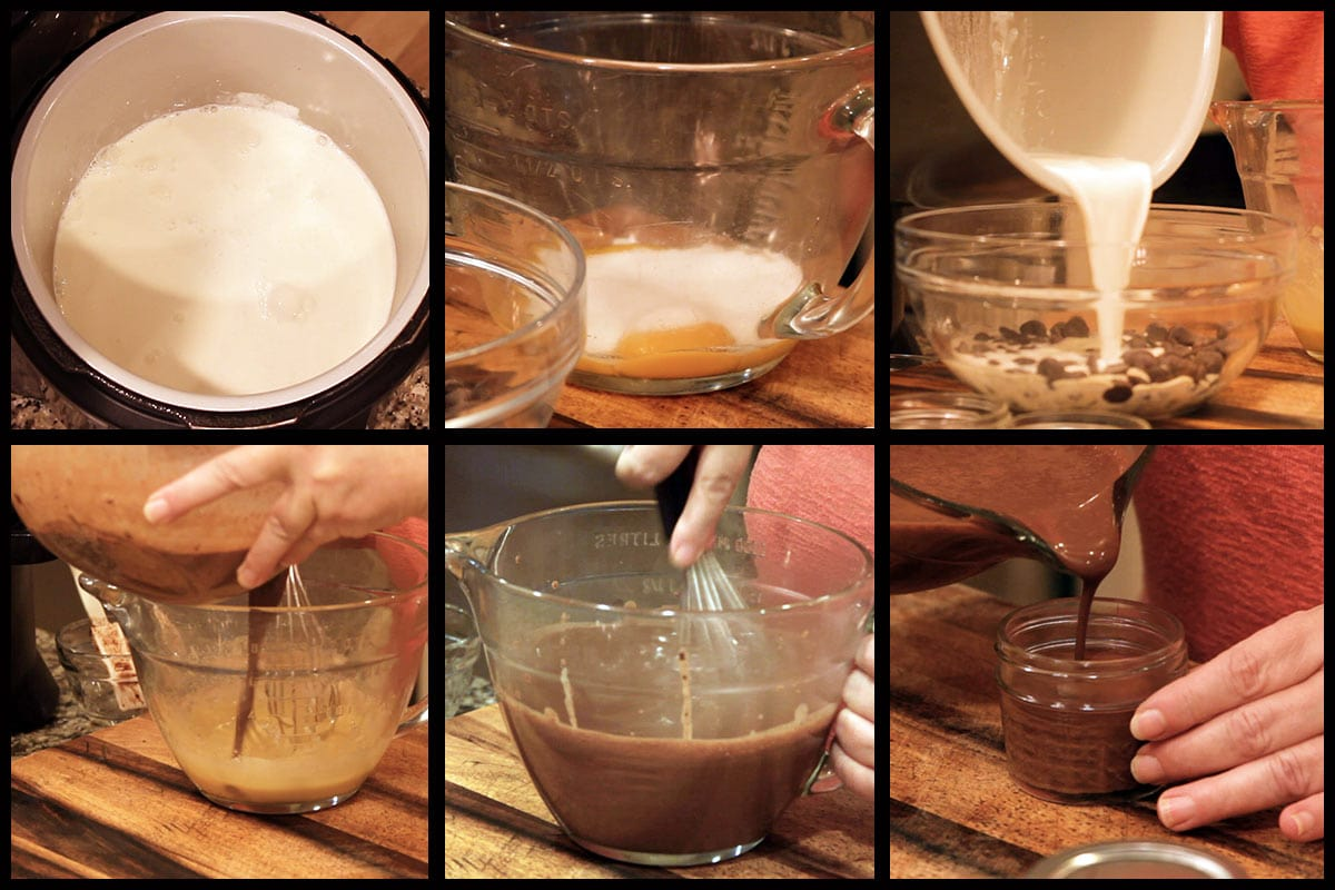 graphic showing steps for making pot de creme
