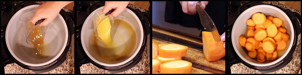 steps for cutting and pressure cooking sweet potatoes
