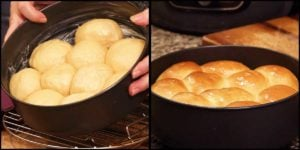sweet potato rolls after rising the second time and after baked