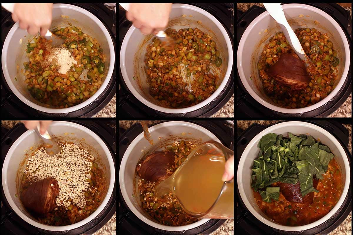 graphic showing steps add remaining ingredients to the inner pot