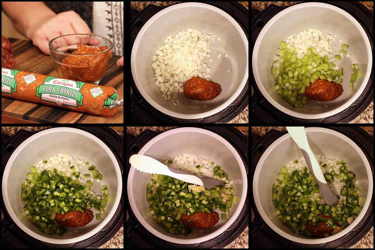 Graphic showing adding the vegetables to the inner pot