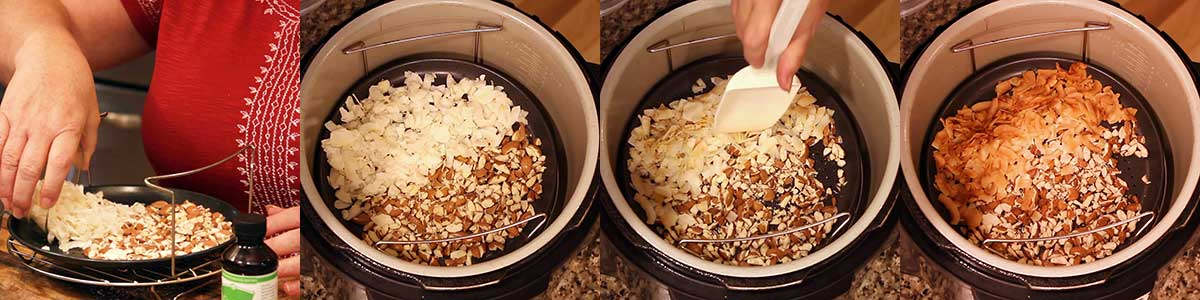 Showing the stages of toasting almonds and coconut
