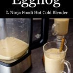 Blender Eggnog in blender and in a glass with a cinnamon stick