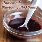 bowl of blueberry bbq sauce with spoon